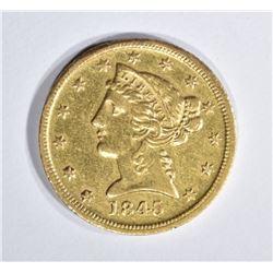 1845-D $5 GOLD LIBERTY HEAD