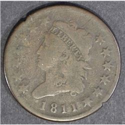 1811 LARGE CENT  KEY COIN  VG+