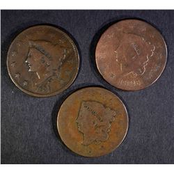 LARGE CENTS: 1818 & 1826 GOOD, 1835 VG/F