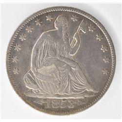 1853-O ARROWS & RAYS SEATED HALF DOLLAR, XF