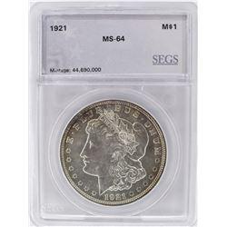 1921 MORGAN DOLLAR, SEGS CH/GEM BU