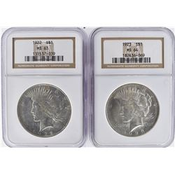 NGC GRADED PEACE DOLLARS:  1922 MS-63 & 23 MS-64