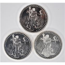 3-WALKING LIBERTY ONE OUNCE .999 SILVER ROUNDS