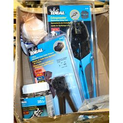 BOX OF ELECTRICAL FASTNERS, CABLE STRIPPER TOOL