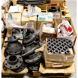 MECHANICAL PALLET OF ASSORTED FLANGES, BOLTS,