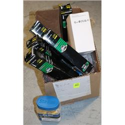BOX OF ASSORTED ELECTRICAL BULBS & PARTS
