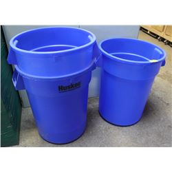 GROUP OF 3 BLUE HUSKEE 32 GALLON CONTAINER