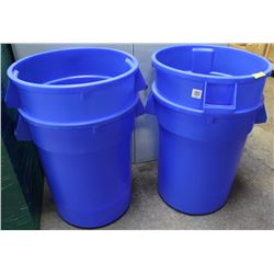 GROUP OF 4 BLUE HUSKEE 32 GALLON CONTAINER