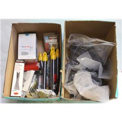 2 BOXES OF ASSORTED ITEMS, FUNNEL AUGER, GLASSES,