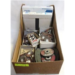 FLAT OF ASSORTED ABRASIVES, FLAP WHEELS,SCREEN BAC