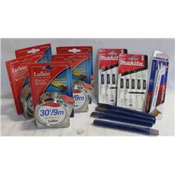 FLAT WITH 5 LUFKIN TAPE MEASURES, JIGSAW BLADES &