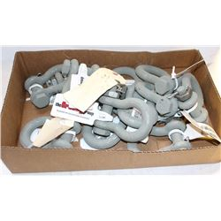 FLAT OF VARIOUS-SIZED CROSBY SHACKLE CLEVIS'