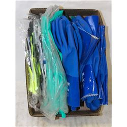 FLAT OF ASSORTED GLOVES: BLUE XL PVS GAUNTLETS,