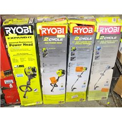 LOT OF 4 VARIOUS RYOBI GAS WEED-WHACKERS
