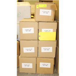 7 CASES OF #8 YELLOW SIGN-TAGS(BLANK)