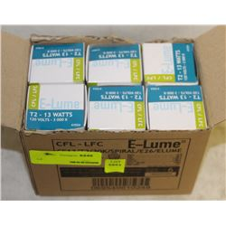 CASE(6) OF E-LUME SPIRAL-STYLE 13W CFL BULBS