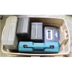 TOTE WITH FIVE EMPTY TOOL BOXES INCL MAKITA, RYOBI