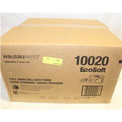 BOX OF WAUSAU 2 PLY JUMBO ROLL BATH TISSUE