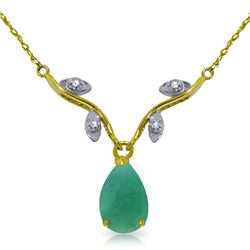 Genuine 1.02 ctw Emerald & Diamond Necklace Jewelry 14KT Yellow Gold - REF-37H2X