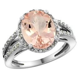 Natural 3.09 ctw Morganite & Diamond Engagement Ring 10K White Gold - REF-66F4N