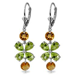 Genuine 5.32 ctw Peridot & Citrine Earrings Jewelry 14KT White Gold - REF-50Y3F