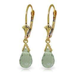 Genuine 5 ctw Green Amethyst Earrings Jewelry 14KT Yellow Gold - REF-23F5Z