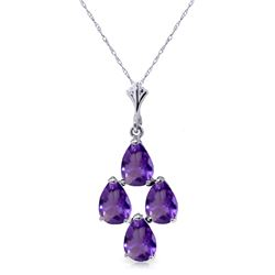 Genuine 1.50 ctw Amethyst Necklace Jewelry 14KT White Gold - REF-20V4W