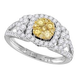 1.22 CTW Yellow Diamond Cluster Bridal Engagement Ring 14KT White Gold - REF-119H9M