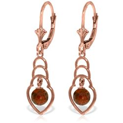 Genuine 1.25 ctw Garnet Earrings Jewelry 14KT Rose Gold - REF-25W6Y