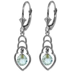 Genuine 1.25 ctw Blue Topaz Earrings Jewelry 14KT White Gold - REF-25A6K