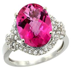 Natural 5.89 ctw pink-topaz & Diamond Engagement Ring 14K White Gold - REF-88Y8X