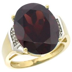 Natural 11.02 ctw Garnet & Diamond Engagement Ring 10K Yellow Gold - REF-65A3V