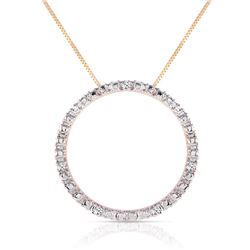 Genuine 0.10 ctw Diamond Anniversary Necklace Jewelry 14KT Yellow Gold - REF-47P6H