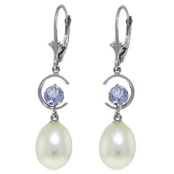 Genuine 9 ctw Pearl & Tanzanite Earrings Jewelry 14KT White Gold - REF-43F8Z