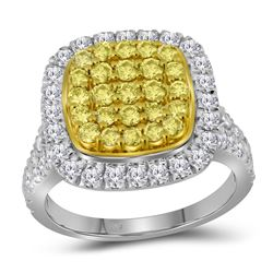 1.75 CTW Natural Yellow Diamond Cluster Ring 14KT White Gold - REF-142H4M