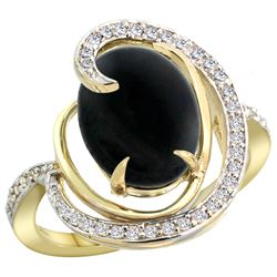 Natural 2.54 ctw onyx & Diamond Engagement Ring 14K Yellow Gold - REF-65G8M