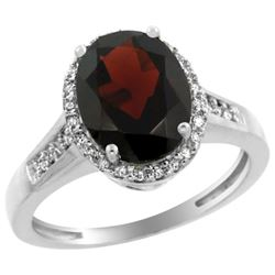 Natural 2.49 ctw Garnet & Diamond Engagement Ring 10K White Gold - REF-35Y2X