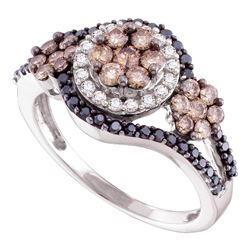 1 CTW Cognac-brown Black Color Diamond Framed Cluster Ring 14KT White Gold - REF-82X4Y