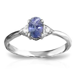 Genuine 0.41 ctw Tanzanite & Diamond Ring Jewelry 14KT White Gold - REF-25V4W