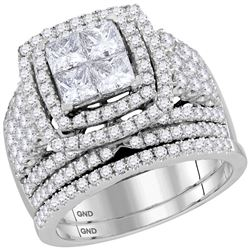 2.95 CTW Princess Diamond Halo Bridal Engagement Ring 14KT White Gold - REF-314K8W