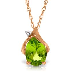Genuine 2.13 ctw Peridot & Diamond Necklace Jewelry 14KT Rose Gold - REF-28M8T