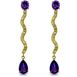 Genuine 4.35 ctw Amethyst & Diamond Earrings Jewelry 14KT Yellow Gold - REF-62K3V