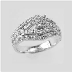 1.24 CTW Diamond Semi Mount Ring 14K White Gold - REF-139H3M