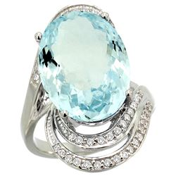Natural 11.2 ctw aquamarine & Diamond Engagement Ring 14K White Gold - REF-182A5V