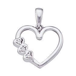 0.03 CTW Diamond Triple Heart Pendant 10KT White Gold - REF-8H9M