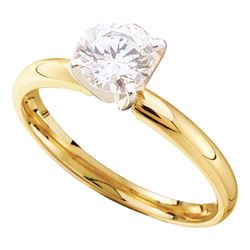 0.90 CTW Diamond Solitaire Bridal Engagement Ring 14KT Yellow Gold - REF-254Y9X