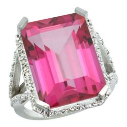 Natural 13.72 ctw Pink-topaz & Diamond Engagement Ring 14K White Gold - REF-81G3M