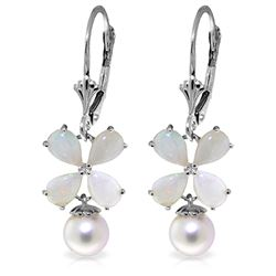 Genuine 6 ctw Opal & Pearl Earrings Jewelry 14KT White Gold - REF-50Y7F