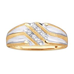 0.14 CTW Mens Diamond Double Row Two-tone Ridged Wedding Ring 10KT Yellow Gold - REF-19H4M