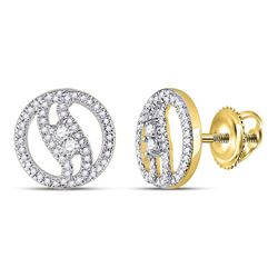 0.25 CTW Diamond 2-stone Circle Stud Earrings 10KT Yellow Gold - REF-24N2F